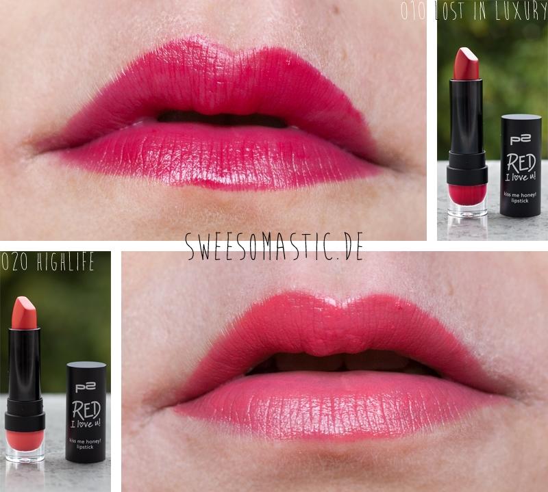 Zwei der Kiss Me Honey Lipsticks aus der Red I Love You LE von P2